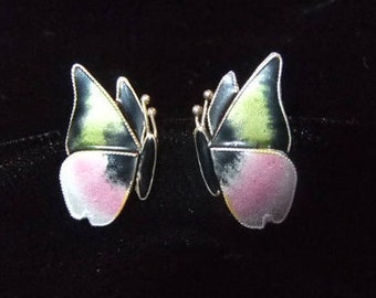 Petite Pink and Green Enamel over Silver Butterfly Earrings