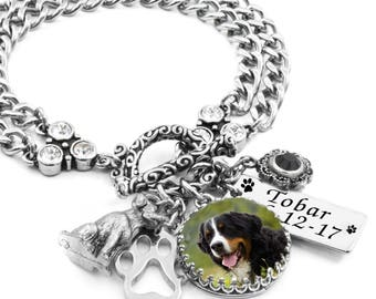 Personalized Dog Bracelet, Dog Memorial Bracelet, Photo Dog Jewelry, Memory Animal Bracelet