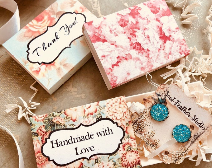 Set of 12 •2x2.60 GIFT BOX•Necklace Box•Jewelry Box•Necklace Holder•Gift Packaging•Earring Holder•Necklace Holder• Shabby Floral 2