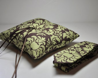 Ringbearer Pillow and Necktie Set Modern Wedding Ring Pillow Set by Me and Matilda in Damask