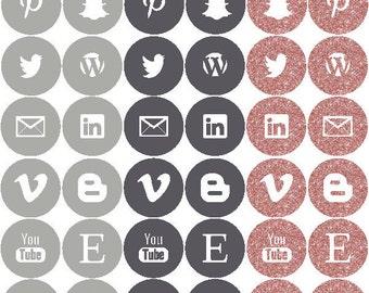 INSTANT DOWNLOAD - Social Media Icons - Subtle Glam Palette