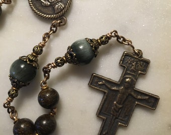Rosary - St. Francis - Franciscan - Bronzite and Green Chrysoberyl - San Damiano Crucifix - Bronze