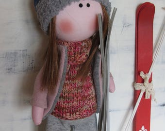 skier doll, Christmas present, fabric doll, handmade doll, textile doll, doll for gift, handmade gift, baby doll, cloth doll, toys dolls
