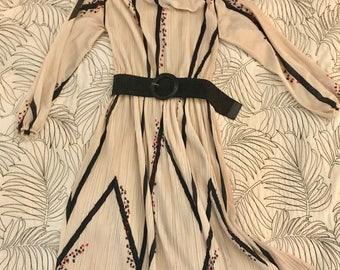 Vintage Rare Hal Ferman Cream & Black Disco Dress