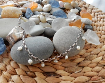 7 PeaRL SteRLiNg SilVeR NeckLaCe & oNe for LuCk