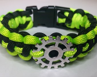 Neon green and black steampunk and zombie inspired bracelet