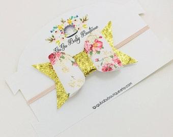Gold Glittered Bow Headband, Baby Bow Headband, Bow Headband
