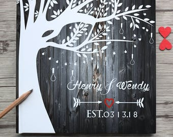 Personalized wedding guest book,tree-leaves- arrow-hearts white wedding guest book,custom bride and groom name and wedding date guestbook
