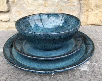 Pottery Dinnerware set in Rutile Blue on Dark Clay