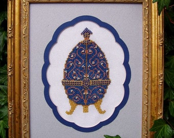 """Cross Stitch Design """"Bejeweled"""". Instant Download PDF Pattern. Blue Ornamental Decorative Egg. X Stitch. Counted Embroidery. DIY Home Decor."""