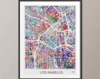 Los Angeles Map, Los Angeles Watercolor Print, Los Angeles Street Map, Travel Decor, Map Art, Wall Hanging, California Street Map, LA -889