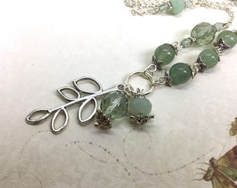 Silver green necklace, romantic necklace, romantic green jewelry