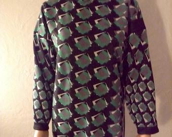 Pullover tunic 50/48/46/44...jersey molletonne green black grey graphic