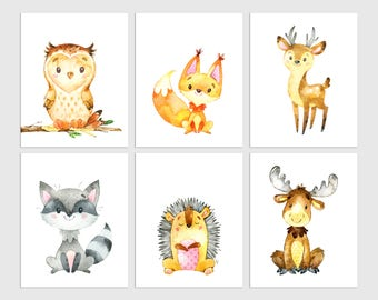 Woodland Nursery Wall Art, Woodland Animals, Boys Room Decor, Forest Animal Prints, Woodland Creatures, Nursery Pictures, Boy Nursery Decor