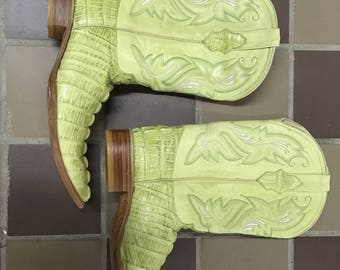 Lime Green White Diamond Cowboy Boots Size 11.5 Made in Mexico