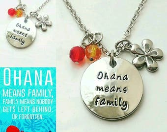 Lilo and Stitch Ohana Means Family Charm Necklace Disney inspired jewellery