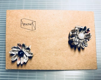 Recycled Magazine/new paper flower Silver 925 parts Earrings