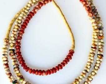 26 Inch Strand of Small Bohemian Interlocking Beads - Vintage African Trade Beads - BO276