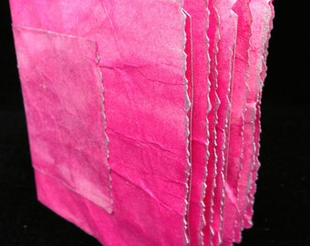 Hot Pink, Hand Bound, Hand Inked Tag Journal