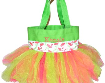 Flamingo Tutu Bag, Flamingo Tote Bag, Name Embroidered on The Bag. Personalized Girl Dance Bag, Beach Bag.  Flamingo Party Bag