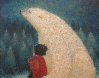 """Limited edition giclée print of original painting by Lucy Campbell - """"Mondays' bear"""""""