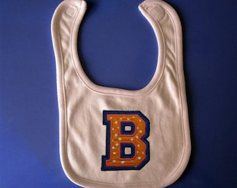 Baby Bib-  Embroidery and appliqued double letter