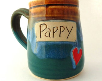 Pappy Mug    Handmade Pottery Mug   Jewel Pottery  Pappy gift   gift for Dad