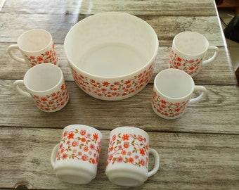 6 mugs and 1 Salad Bowl ARCOPAL SCANIA series