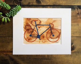Bicycle art, Bicycle Print, Watercolor Painting, Coffee art, Coffee Stained paper, Bike Decor, Wall art, bike print