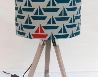 Blue Boat Screen Printed 30cm Handmade Nautical Seaside Lampshade