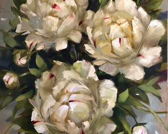 """By Your Side, 16"""" x 20"""", inches, original, oil, painting, wall, decor, art, krista eaton, peony, peonies"""