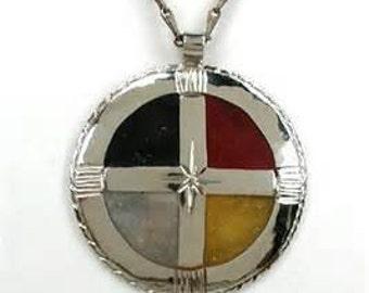 Medicine Wheel German Silver/Brass Pendant