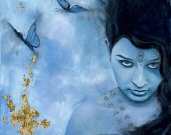 "Kali Ma - The Dark Mother  -Digital Print 6.5"" x 12.5"" on gloss card - 1/2 inch border"