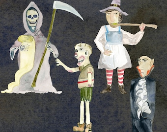 Halloween characters, witch watercolor, the death watercolor, zombie watercolor, dracula watercolor, vampire, clipart
