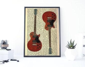Guitar Print, Guitar Art, Electric Guitar Print, Dictionary Page Art, Guitar Poster, Mixed Media Art, Collage Wall Art