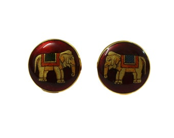 Silver Cuff links with painted meena