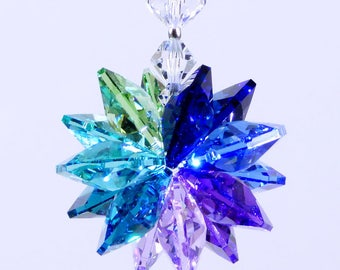 m/w Swarovski Crystal Extemely Rare Indicolite Octagons with Aqua, Purples, Peridot, Blue Suncatcher Car Charm Ornament Lilli Heart Designs