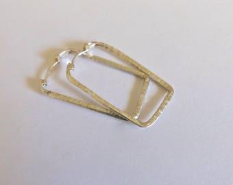 Sterling silver hoops. Hammered silver rectangular hoops.
