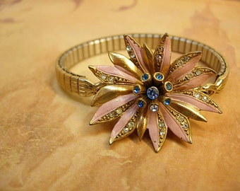 Vintage Enamel rhinestone flower bracelet PINK and fun