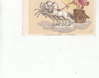 Antique Les Jours De La Semaine/Dimanche/Woman In Chariot Pulled By Four White Horses/Postcard Days of The Week