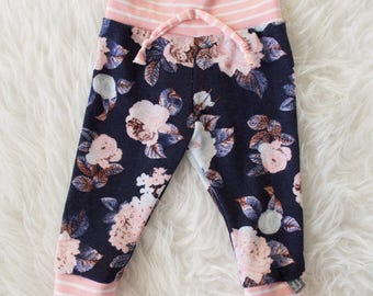 blue floral with pink stripes faux tie pants by little lapsi. ready to ship. pants leggings