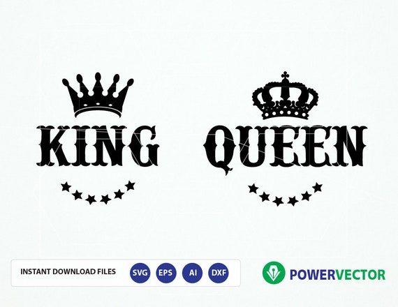King And Queen Font By Weknow: Royal Couple T Shirt Design Svg. King Queen Svg. Svg Cutting