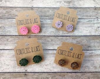 Earrings, paper earrings, flower earrings, stud earrings, rose earrings