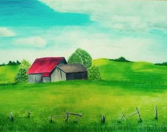 Original landscape drawing, art, colored pencils