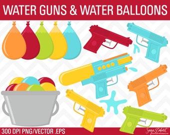 Summer Clipart, Water Gun Clipart, Squirt Gun Clipart,  Water Gun Clip Art, Summer Clip Art CA227