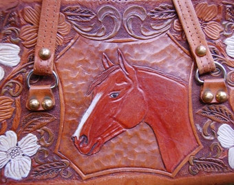 Horse\/Equestrian Satchel Bag - Hand Tooled Leather