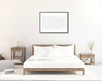 """Typography Lyrics to """"Hill Song - Oceans""""  Download Black and White 24""""x36""""Landscape"""
