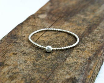 Dainty Silver Skinny Stacking Ring Super Skinny Twist Ring with Silver Ball Argentium Silver Ring
