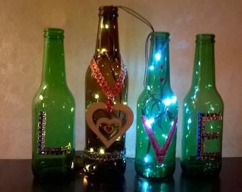 Beautiful Decorated Light up Bottles
