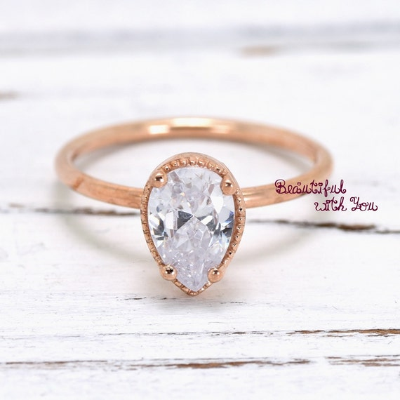 Womens Teardrop Ring Vintage Design Engagement Ring Womens